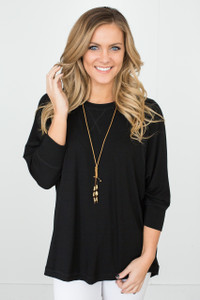 Dolman 3/4 Sleeve Knit Top - Black