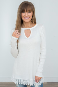 Crochet Lace Trim Waffle Knit Tunic - Off White - FINAL SALE