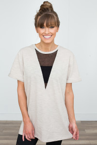 Mesh Front Short Sleeve Tunic - Taupe