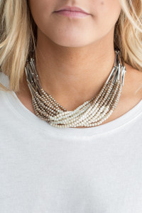 Beaded Statement Necklace - Silver