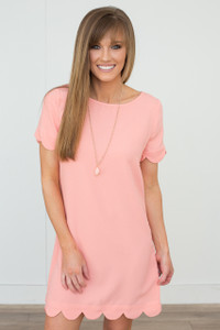It Girl Scallop Trim Short Sleeve Dress - Peach