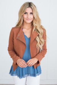 Faux Suede Moto Jacket - Camel - FINAL SALE