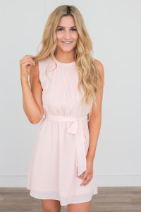 Tie Waist Sleeveless Chiffon Dress - Soft Pink