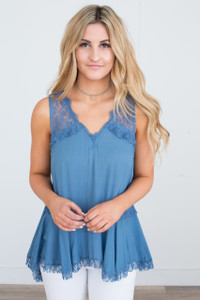 Lace Detail Sleeveless Blouse - Blue