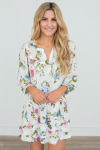 Wildflower Floral Print Dress - Off White