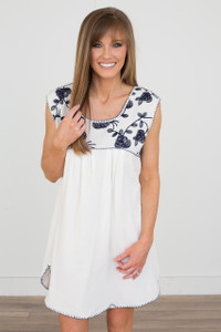 Floral Embroidered Dress - Off White/Navy - FINAL SALE