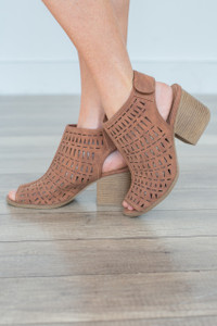 Perforated Peep Toe Heels - Camel - FINAL SALE