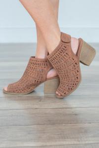 Perforated Peep Toe Heels - Camel