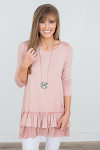 Lace Trim Ruffle Hem Tunic - Dusty Pink