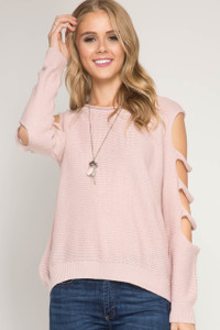 Cutout Sleeve Sweater - Rose
