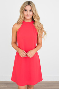 Tie Back Scalloped Dress - Red Orange