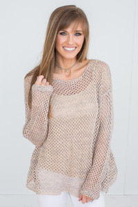 Open Knit Crochet Top - Grey/Blush