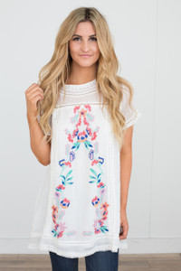 Floral Embroidered Tunic Dress - Off White