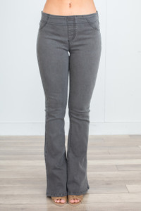 High Waisted Bell Bottom Jeggings - Charcoal