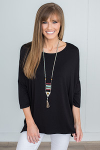 Dolman 3/4 Sleeve Knit Tunic - Black