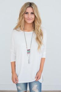 Dolman 3/4 Sleeve Knit Tunic - Off White