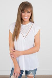 Lace Contrast Cap Sleeve Blouse - White - FINAL SALE