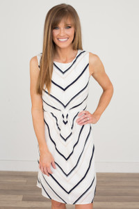 Gathered Striped Dress - Off White/Navy/Tan