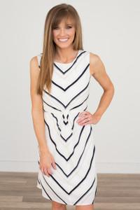 Gathered Striped Dress - Off White/Navy/Tan
