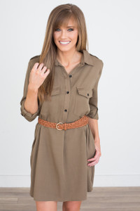 Roll Tab Sleeve Dress - Olive - FINAL SALE