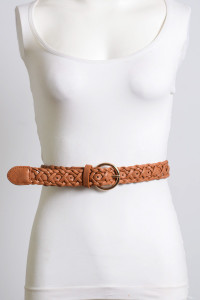 Double Braided Faux Leather Belt - Camel - FINAL SALE