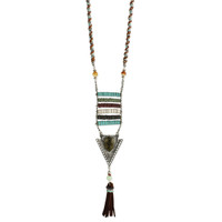 Leather Tassel Tribal Necklace - Multi - FINAL SALE