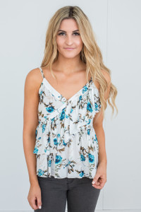 Ruffle Detail Floral Tank - White/Teal - FINAL SALE