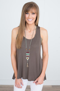 Open Back Ribbed Tank - Olive - FINAL SALE