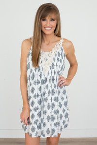 Crochet Detail Printed Dress - Off White/Navy - FINAL SALE