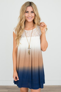 Lace Trim Dip Dye Dress - Ivory/Navy/Tan