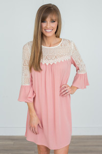 Lace Detail Bell Sleeve Dress - Rose - FINAL SALE