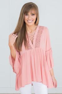 Crochet Detail Bell Sleeve Blouse - Rose - FINAL SALE