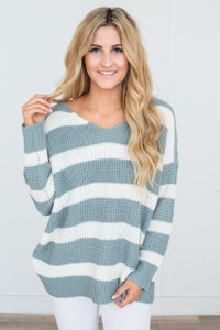 V Neck Striped Sweater - Slate/Ivory