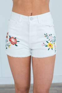 Floral Embroidered Denim Shorts - White