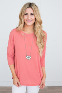 Basic 3/4 Sleeve Knit Tunic - Coral - FINAL SALE