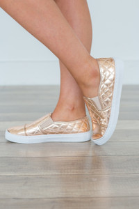 Quilted Slip On Sneakers - Rose Gold