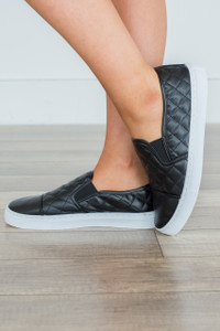 Quilted Slip On Sneakers - Black