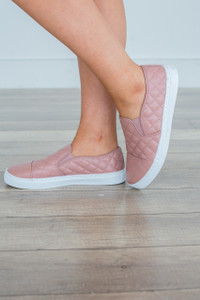 Quilted Slip On Sneakers - Mauve