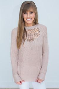 Lightweight Open Knit Detail Sweater - Dusty Pink