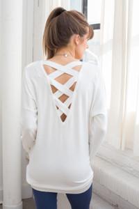 Lattice Back Tunic Sweater - Off White