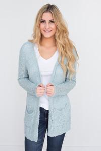 Crochet Knit Pocket Cardigan - Light Blue