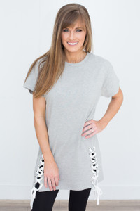 Short Sleeve Lace Up Tunic - Heather Grey - FINAL SALE