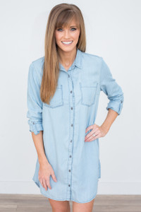 Roll Tab Sleeve Button Down Chambray Dress - Denim - FINAL SALE
