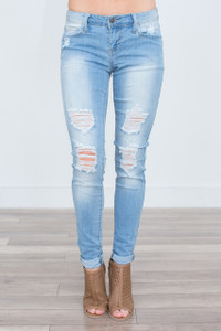 Mid Rise Ripped Skinny Jeans - Light Wash
