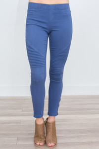Zipper Detail Moto Stitch Leggings - Navy