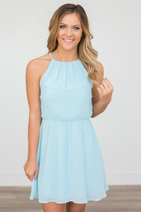 Sleeveless Open Back Dress - Aqua