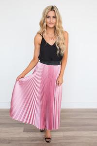 Elastic Waist Pleated Tea Length Skirt - Rose
