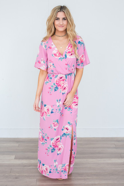 Everly Short Sleeve Floral Print Maxi Dress - Pink - Magnolia Boutique