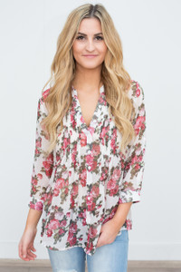 Floral Print Pintuck Blouse - Off White
