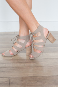 Lace Up Peep Toe Sandal - Taupe